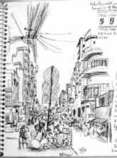 saigon street sketch