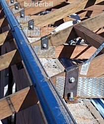 timber roof truss hold down bolts, metal purlins