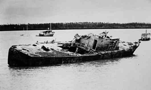 HMAS Attack cyclone damage