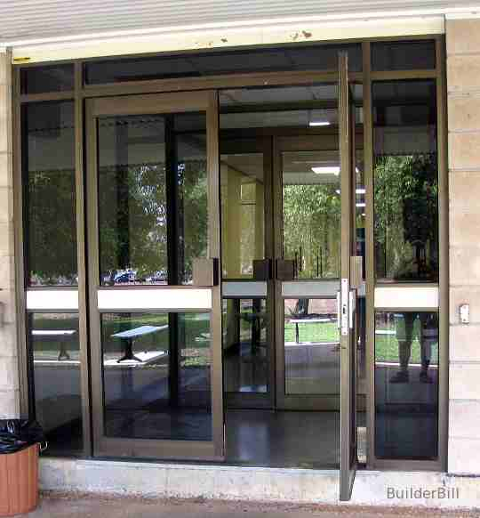 aluminium and glass double doors