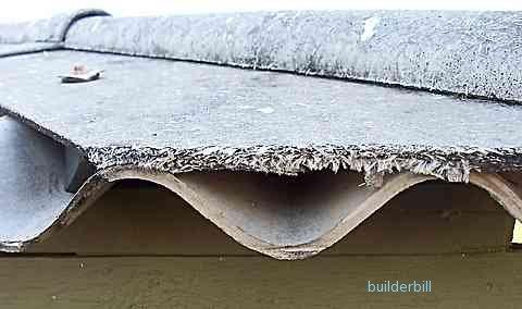 free asbestos fibres on roof edge