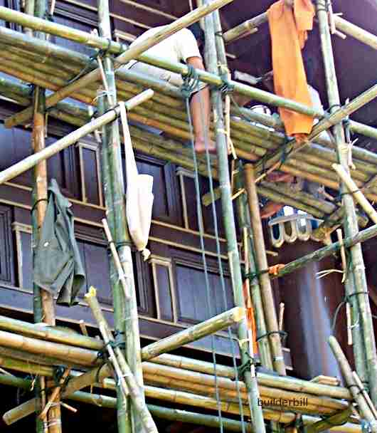 bamboo poles used as scaffolding