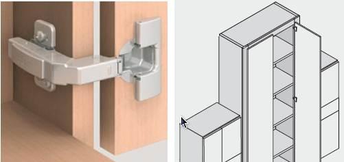 a blind corner overlay hinge.