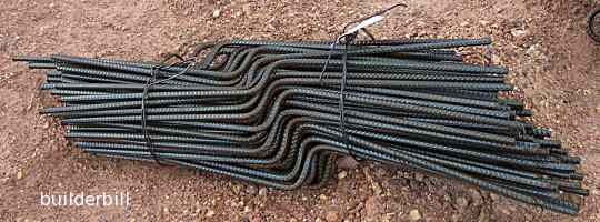 concrete rebar cut, bent and bundled