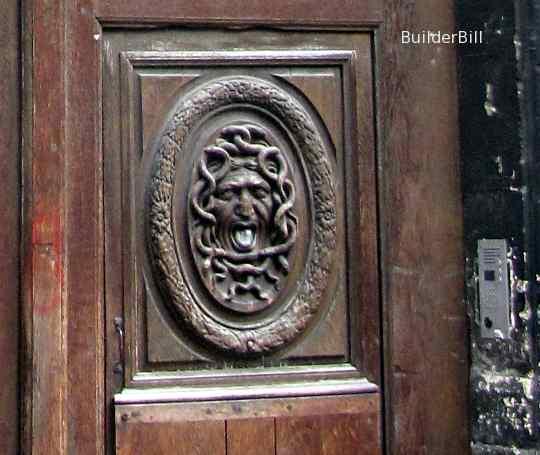 carved wood door panel