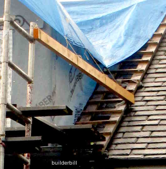 a cat ladder used while working on a dormer