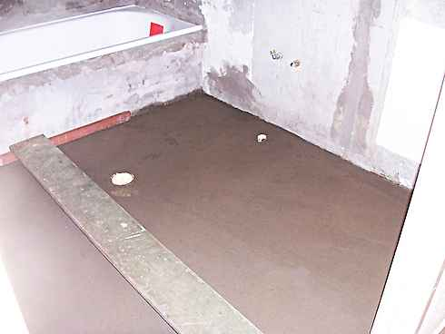 bathroom cement topping fall to floor waste