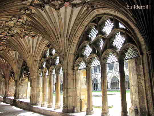 medieval masonry work, cloisters salisbury
