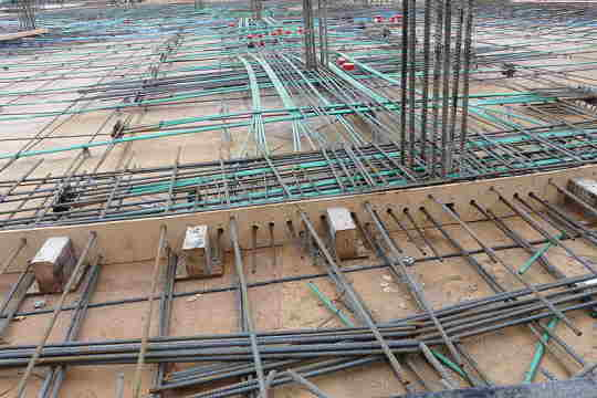 suspended slab with post tensioning cables