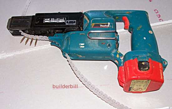 A cordless drywall screw gun
