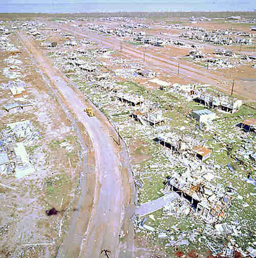 Aerial shot of cyclone damage
