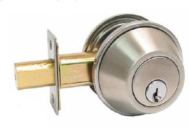 A deadbolt lock, can have single key or double key