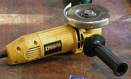 A Dewalt grinder with a depressed centre disk