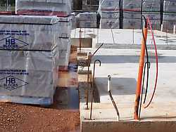 Recess in concrete slab for door frames