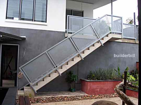 a straight flight of concrete stairs