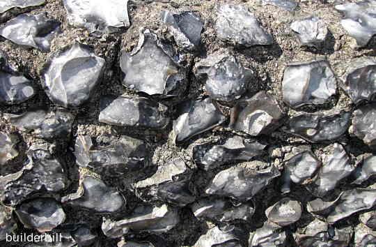 flint stones used in a rubble wall
