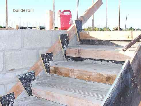 formwork of stair risers and side forms