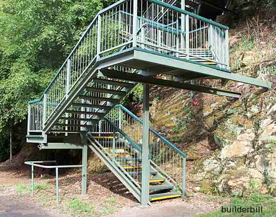 a steel stair with landings
