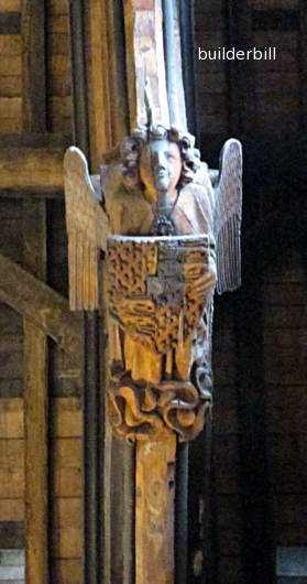 detail of the carving to the beams in westminster hall