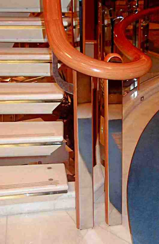 steel, marble and timber used in one stairway