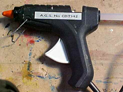 A hot glue gun
