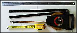 tape measure, rule, steel rule.
