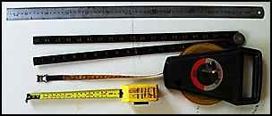 tape measure, rule, steel rule.