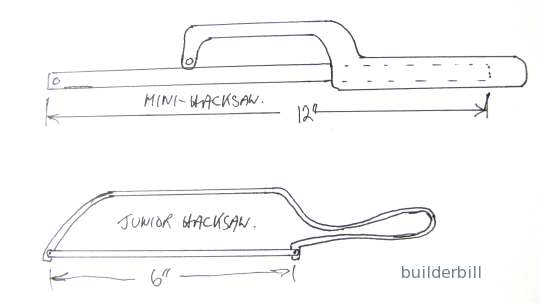 sketch of a junior hacksaw and a mini hacksaw