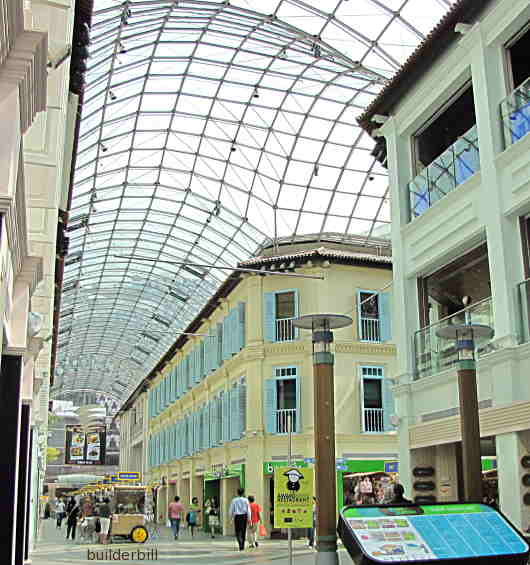 roofed shopping galleria in Singapore