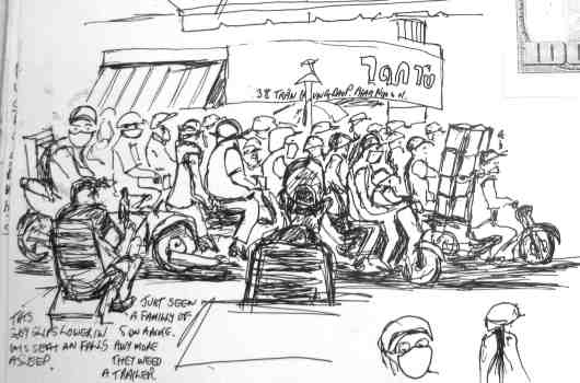 saigon sketch of motorbikes