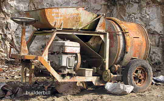 an  old concrete mixer