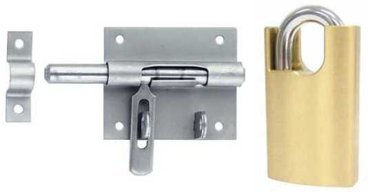 A small pad bolt and a lock with shackle protection