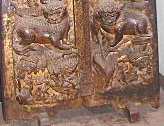 Thai temple doors. Timber pivot doors