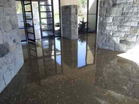 a polished concrete floor