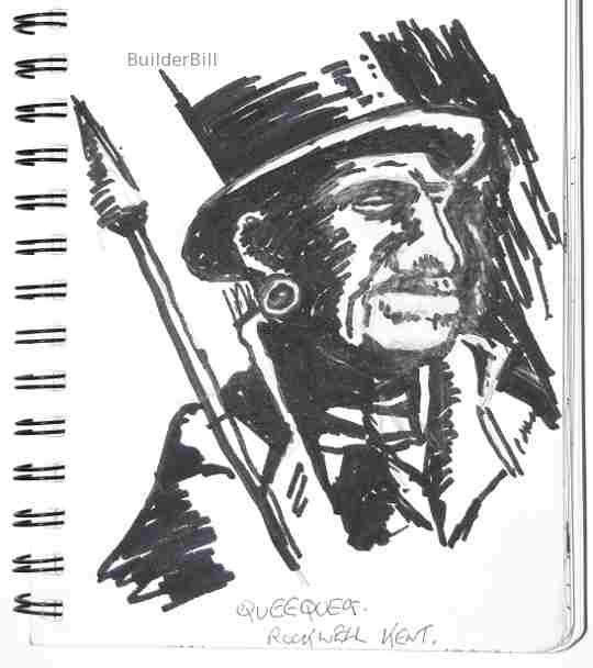 marker pen sketch of queequeg by rockwell kent