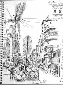 saigon street sketch