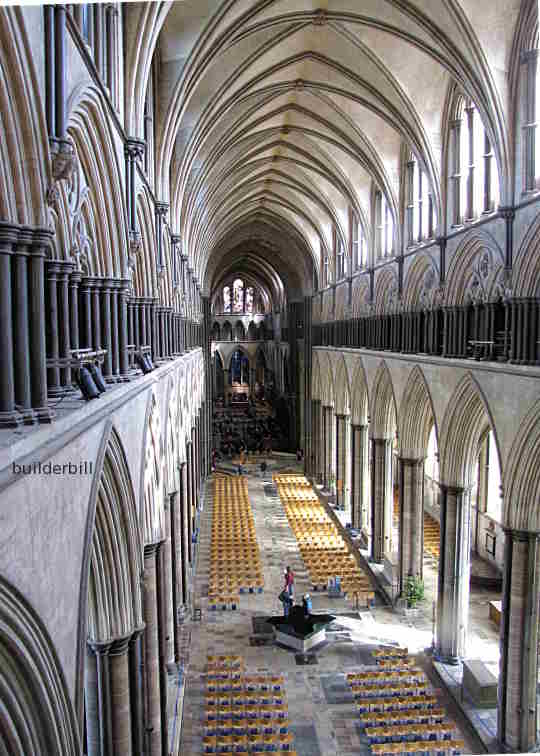 medieval masory. salisbury cathedral interior view