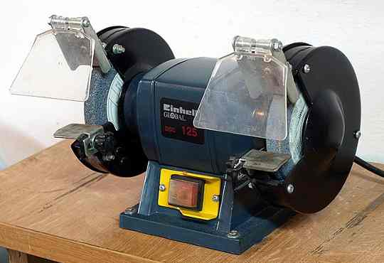 A small bench grinder