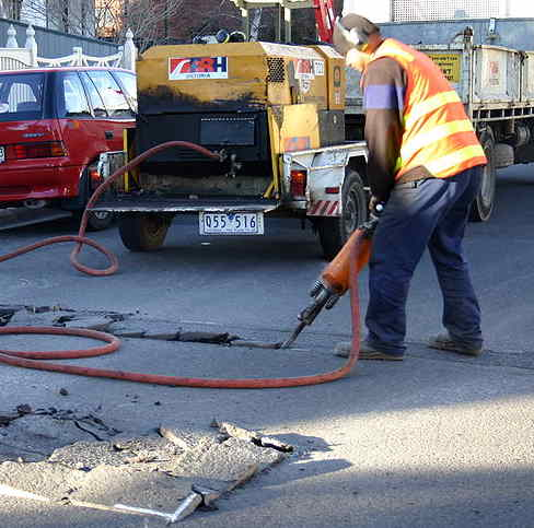 Using a pavement breaker