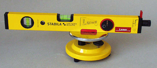 A manual spirit level with a laser light readout