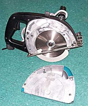 Makita cold saw spark catcher removed