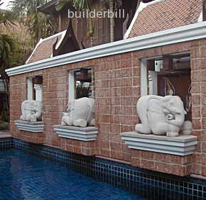 carved stone elephants pool ornaments