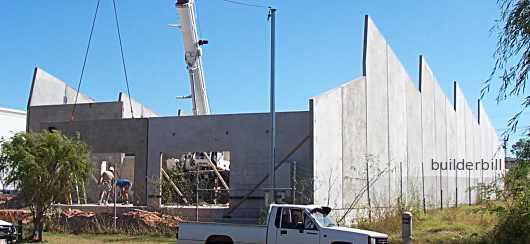 The concrete walls of a tilt slab warehouse