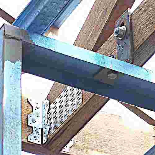 Steel shear wall bolt connection to roof truss
