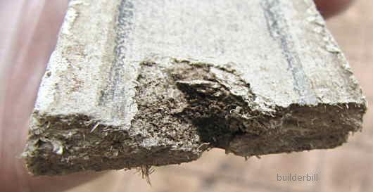 the inside face of an asbest cover batten