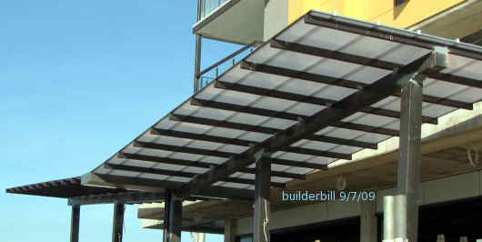 a plastic roofed shade structure
