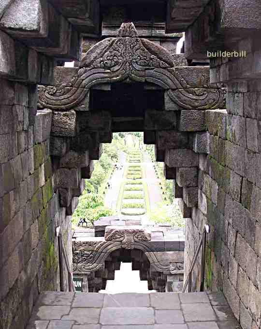 corbelled arches at Borobodur in Java