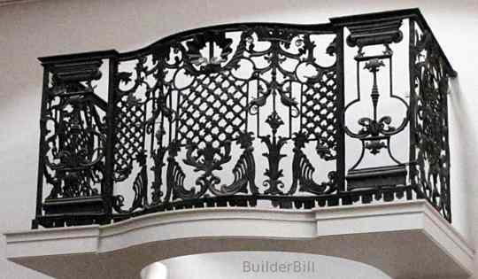 An English wrought iron balcony