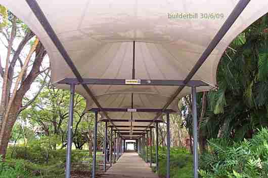 a fabric roofed walkway.