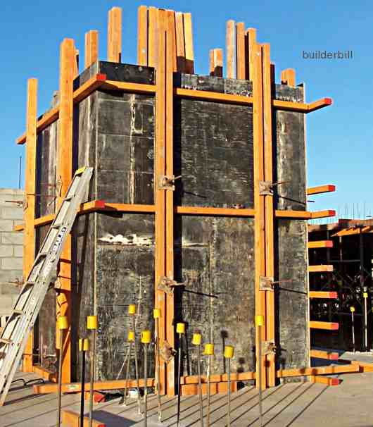 formwork soldiers to a lift well